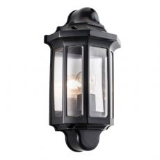 Endon Lighting Outdoor Traditional half lantern IP44 60W in Satin black paint & clear pc - 1818S
